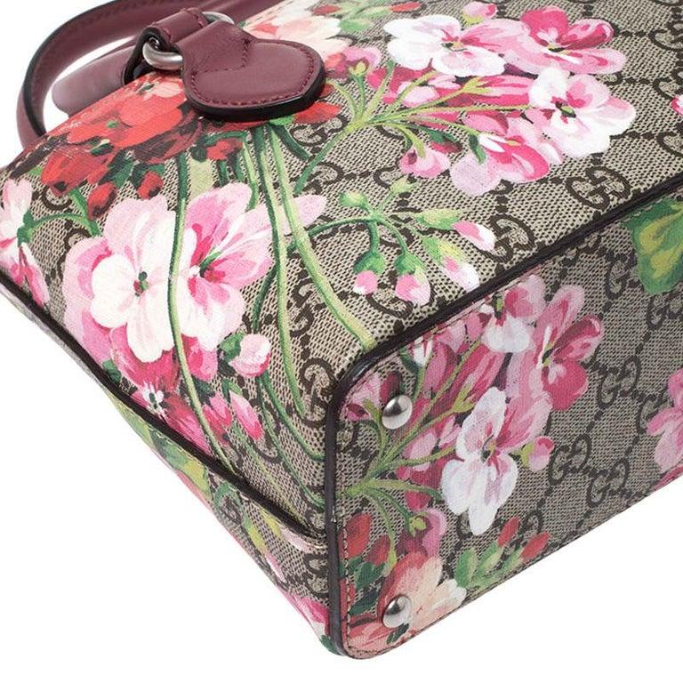 Gucci Multicolor GG Supreme Canvas Blooms Leather Small Satchel For Sale 2