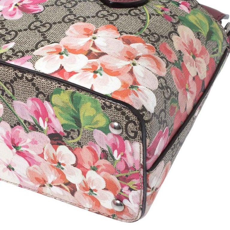 Gucci Multicolor GG Supreme Canvas Blooms Leather Small Satchel For Sale 3