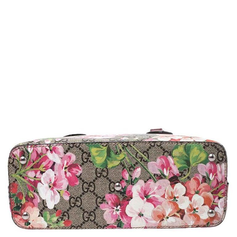 Gucci Multicolor GG Supreme Canvas Blooms Leather Small Satchel For Sale 4
