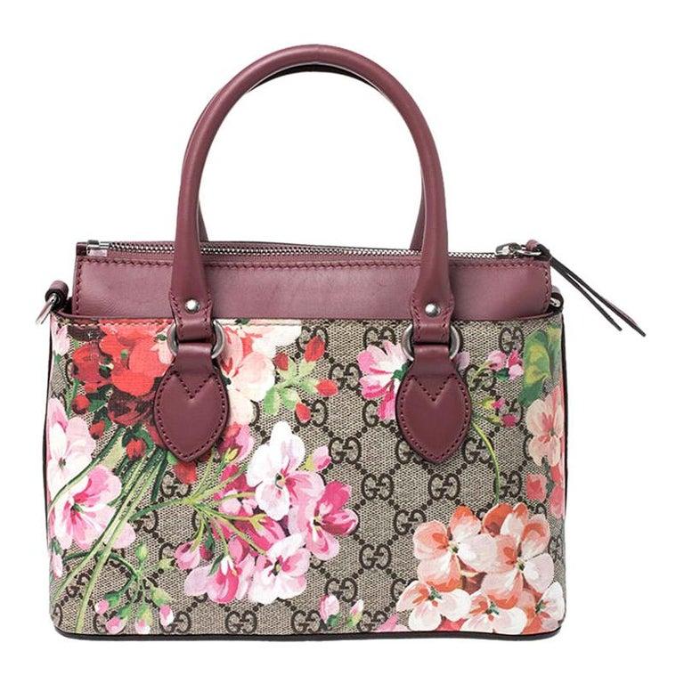 Gucci Multicolor GG Supreme Canvas Blooms Leather Small Satchel For Sale
