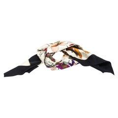 Gucci Multicolor Goth Floral Print Silk Twill Pleated Neck Scarf