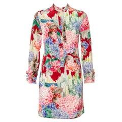 Gucci Multicolor Hydrangea Printed Silk Neck Tie Detail Shirt Dress S