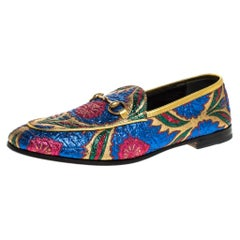Gucci Multicolor Jacquard Fabric Jordaan Loafer Size 38.5