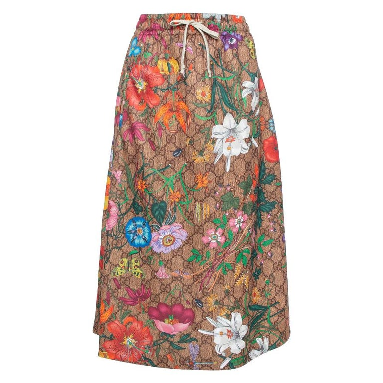 Gucci Multicolor Knit Logo Monogram Flora Print Flared Skirt L For Sale