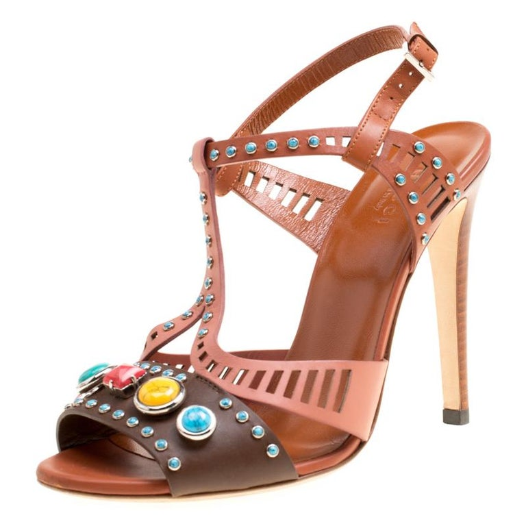 87c20e640e01 Gucci Multicolor Leather Lika Stone Embellished Sandals Size 38 For Sale