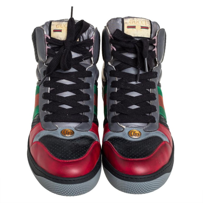Black Gucci Multicolor Leather Screener High-Top Sneakers Size 45 For Sale
