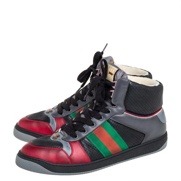 Gucci Multicolor Leather Screener High-Top Sneakers Size 45 In Excellent Condition For Sale In Dubai, Al Qouz 2