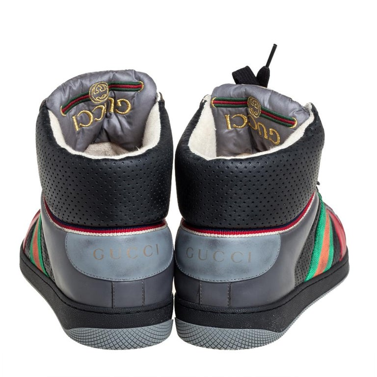Gucci Multicolor Leather Screener High-Top Sneakers Size 45 For Sale 1