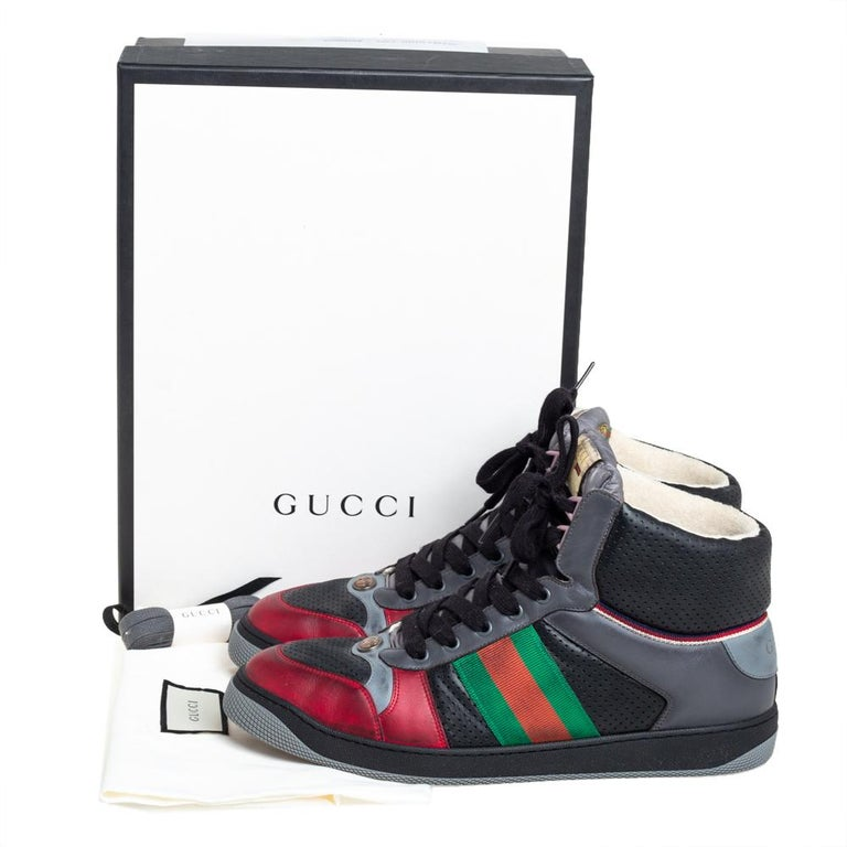 Gucci Multicolor Leather Screener High-Top Sneakers Size 45 For Sale 4