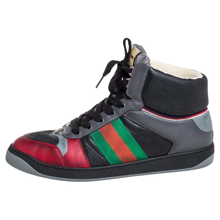 Gucci Multicolor Leather Screener High-Top Sneakers Size 45 For Sale