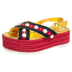 Gucci Multicolor Leather Web Line And Pear Studded Wedge Sandals Size 38