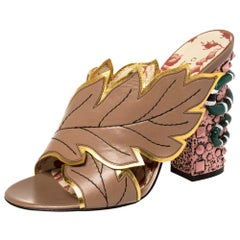 Gucci Multicolor Leather Webby Leaf Slide Sandals Size 39