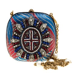Gucci Multicolor Metallic Brocade Broadway Faux Pearl Embellished Minaudiere Clu