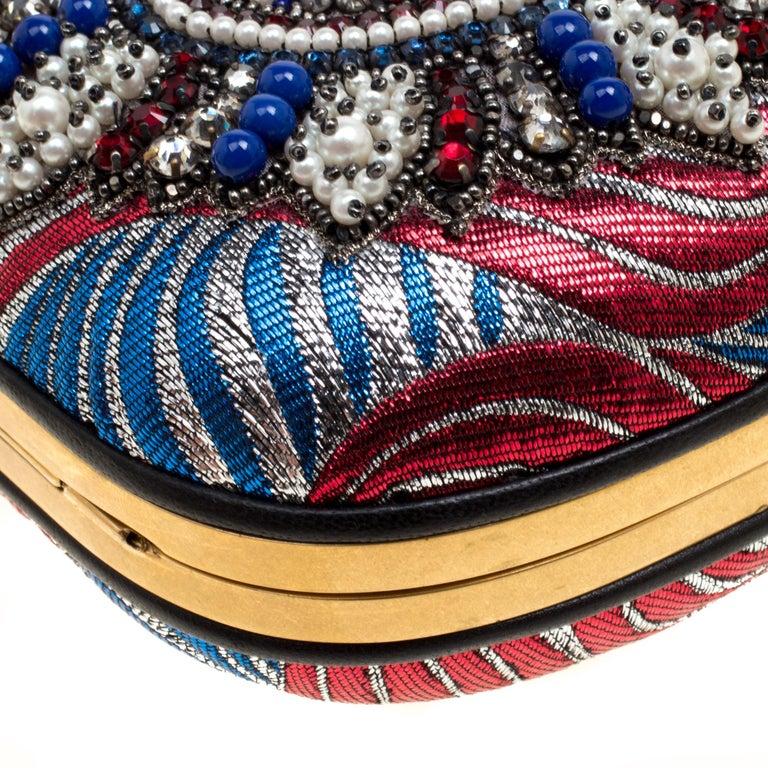 Gucci Multicolor Metallic Brocade Broadway Faux Pearl Minaudiere Clutch For Sale 5