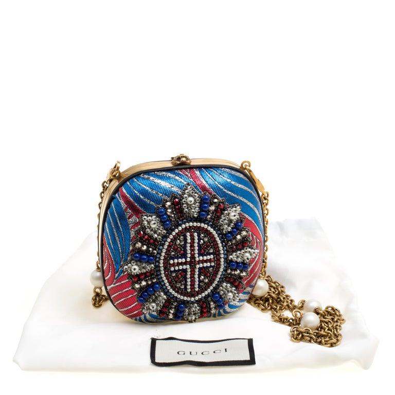Gucci Multicolor Metallic Brocade Broadway Faux Pearl Minaudiere Clutch For Sale 6