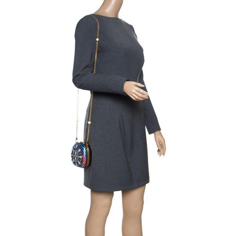 Black Gucci Multicolor Metallic Brocade Broadway Faux Pearl Minaudiere Clutch For Sale
