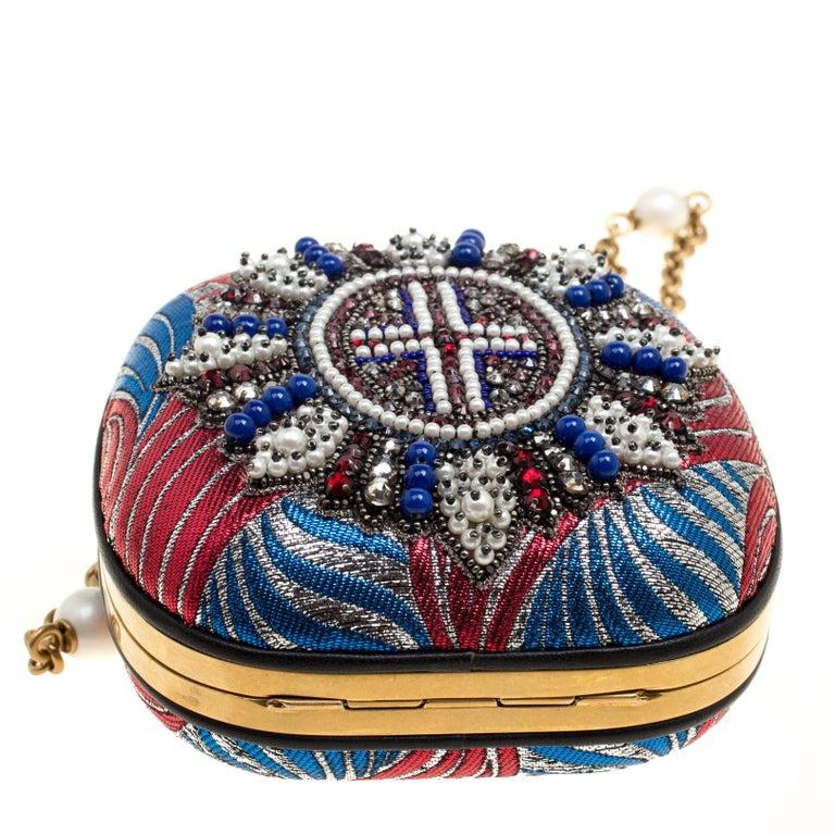 Women's Gucci Multicolor Metallic Brocade Broadway Faux Pearl Minaudiere Clutch For Sale