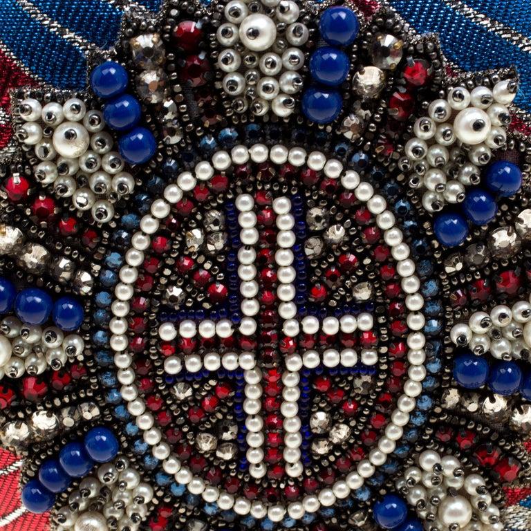 Gucci Multicolor Metallic Brocade Broadway Faux Pearl Minaudiere Clutch For Sale 3