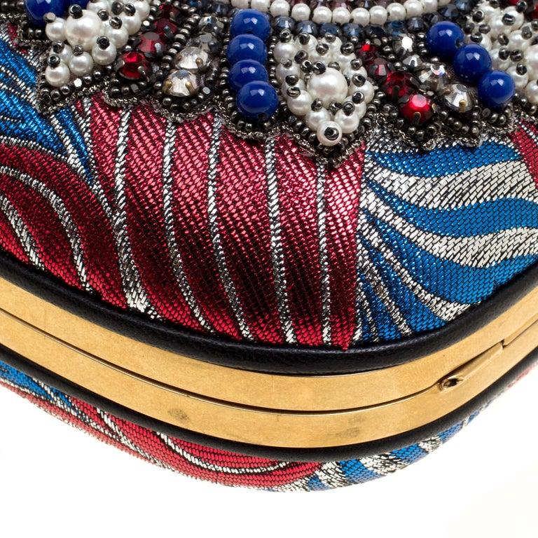 Gucci Multicolor Metallic Brocade Broadway Faux Pearl Minaudiere Clutch For Sale 4