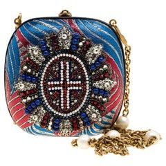 Gucci Multicolor Metallic Brocade Broadway Faux Pearl Minaudiere Clutch