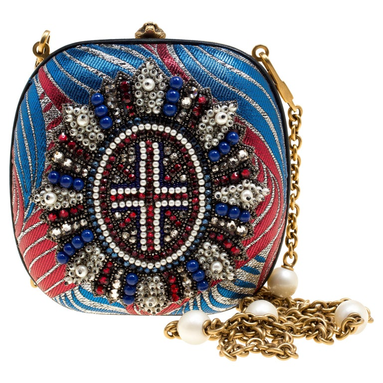 Gucci Multicolor Metallic Brocade Broadway Faux Pearl Minaudiere Clutch For Sale