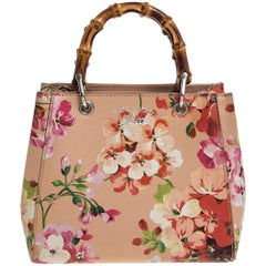 Gucci Multicolor Printed Blooms Leather Mini Bamboo Tote