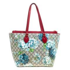 Gucci Multicolor/Red Bloom Print Supreme Canvas and Leather Shopper Tote