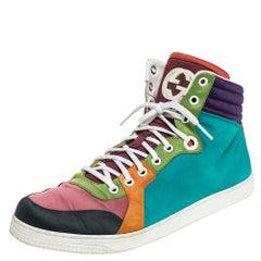 Gucci Multicolor Satin Coda High Top Sneakers Size 42.5