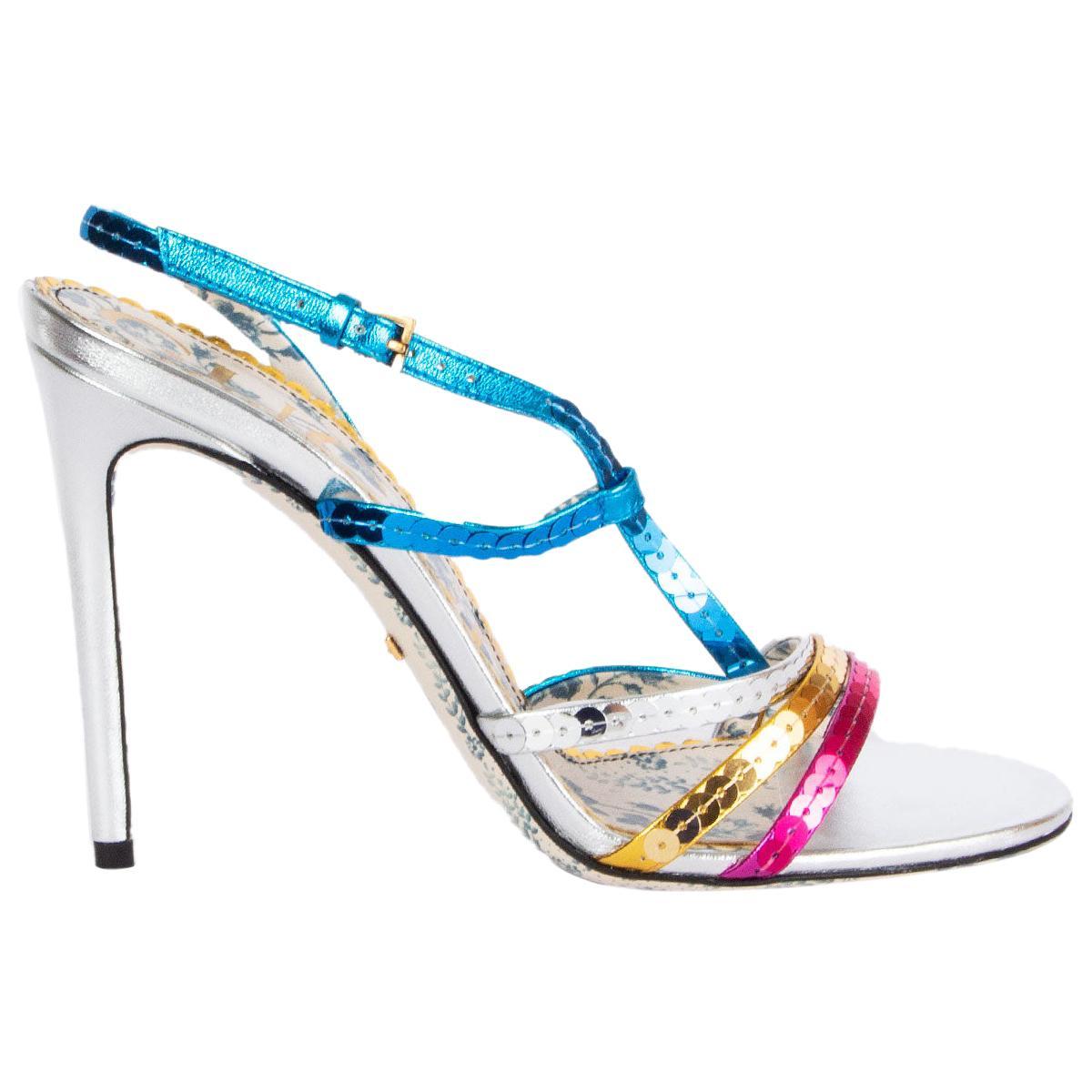 GUCCI multicolor Sequins HAINES 105 Sandals Shoes 38