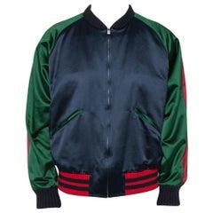 Gucci Multicolor Silk Satin Panther Applique Detail Bomber Jacket XXL