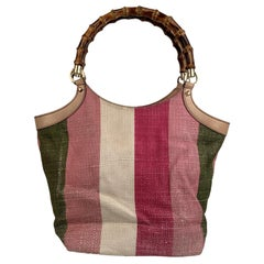 Gucci Multicolor Striped Baiadera Bamboo Handle Tote Bag