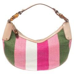 Gucci Multicolor Striped Rafia And Leather Bamboo Ring Hobo