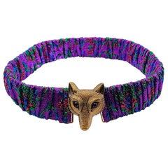 GUCCI Multicolored Wolf Head Belt