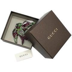 Gucci Multicolour Crystal Embellished Bird Brooch