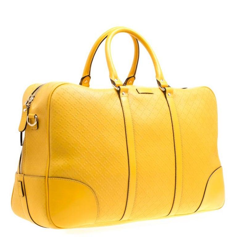 4303e1aef041 Gucci Mustard Diamante Leather Medium Duffle Bag In Good Condition For Sale  In Dubai, AE