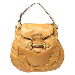 Gucci Mustard Leather Large New Pelham Horsebit Shoulder Bag