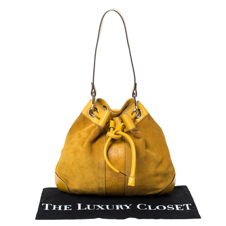 Gucci Mustard Suede and Leather Drawstring Hobo For Sale 5