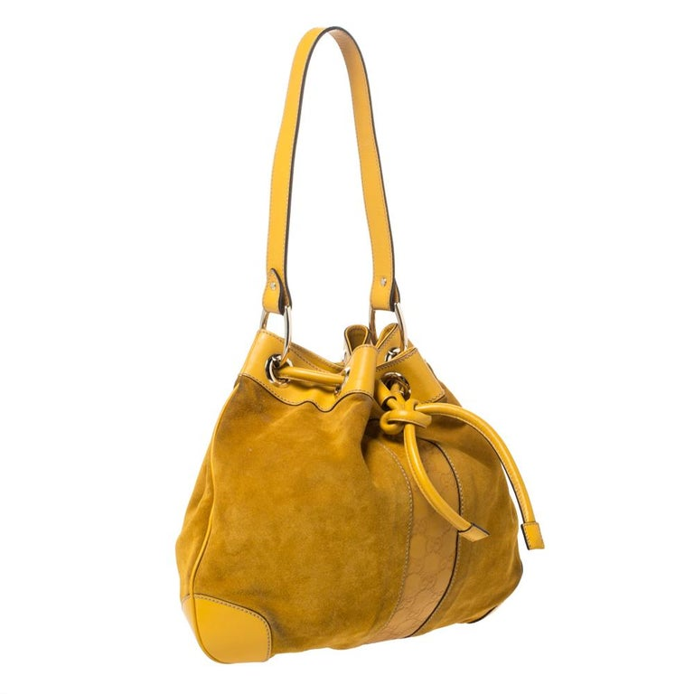 Brown Gucci Mustard Suede and Leather Drawstring Hobo For Sale