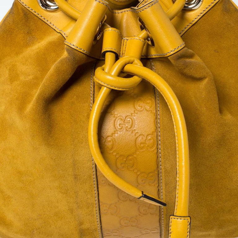 Gucci Mustard Suede and Leather Drawstring Hobo For Sale 1