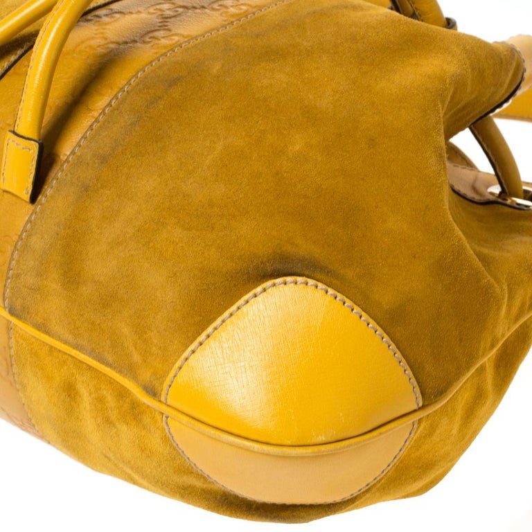 Gucci Mustard Suede and Leather Drawstring Hobo For Sale 2