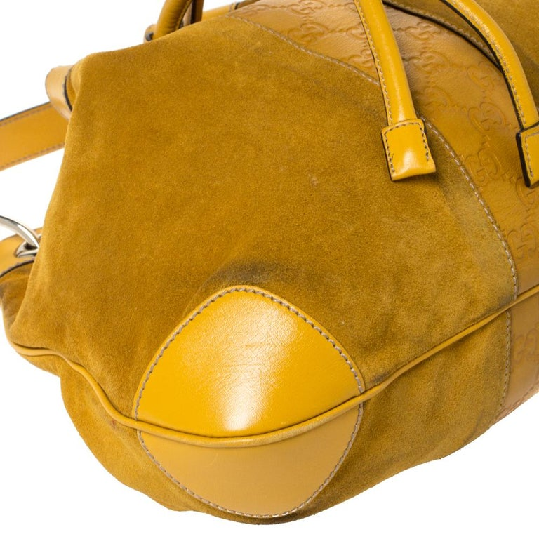 Gucci Mustard Suede and Leather Drawstring Hobo For Sale 3