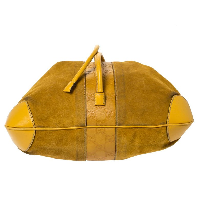 Gucci Mustard Suede and Leather Drawstring Hobo For Sale 4