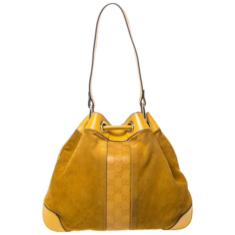Gucci Mustard Suede and Leather Drawstring Hobo For Sale