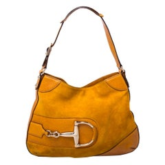 Gucci Mustard Suede and Leather Hasler Horsebit Shoulder Bag
