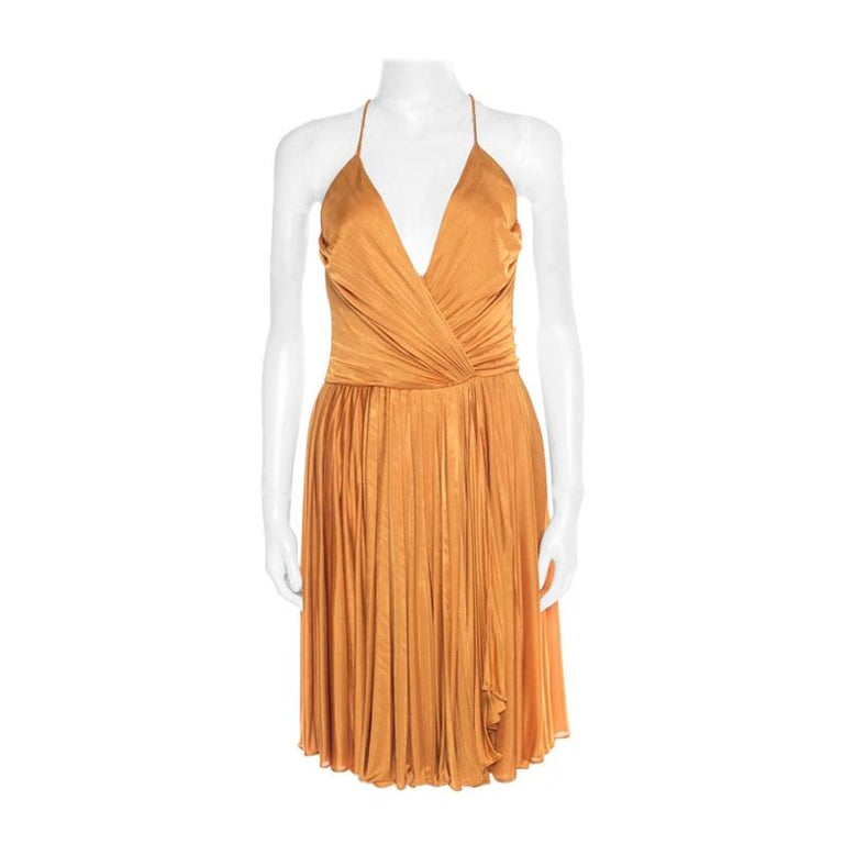 Gucci Mustard Yellow Plunge Neck Cutout Back Plisse Dress S For Sale
