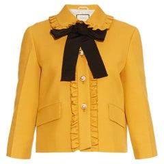 GUCCI mustard yellow silk & wool RUFFLED CROPPED Jacket 36 XXS