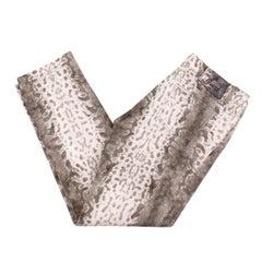 Gucci Natural Snake Print Cotton Blend Jeans - US 10
