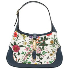 Gucci Navy and Floral Jackie Bag