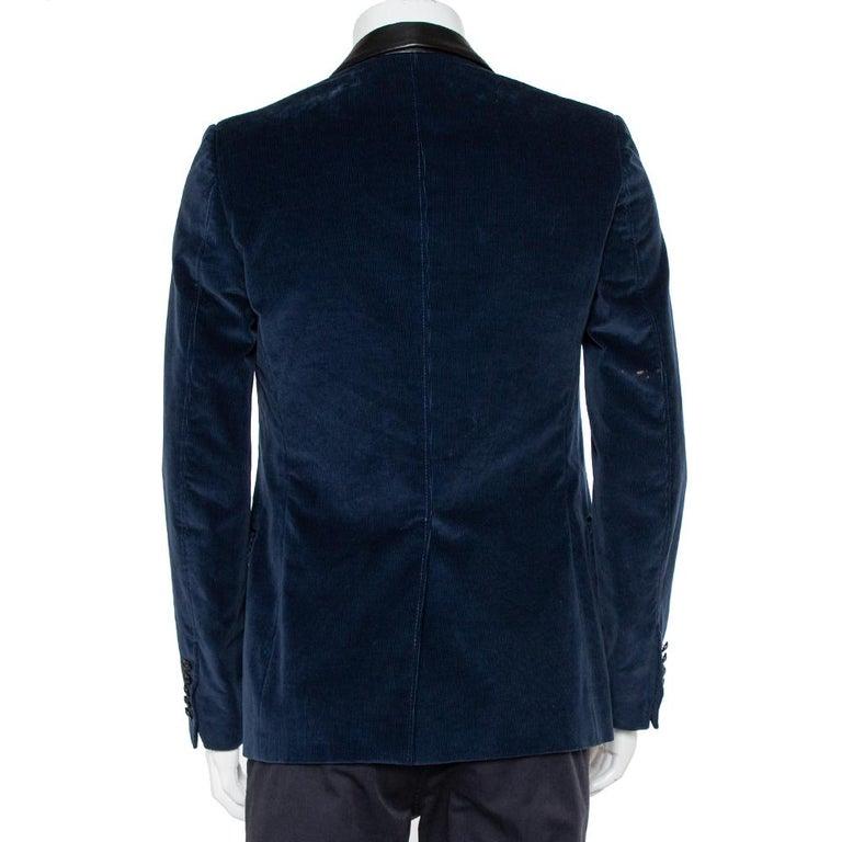 Gucci Navy Blue Corduroy Leather Trim Button Front Blazer M In Good Condition For Sale In Dubai, Al Qouz 2