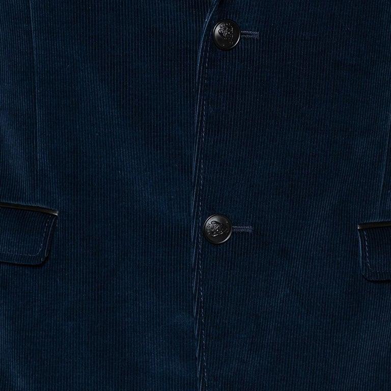 Men's Gucci Navy Blue Corduroy Leather Trim Button Front Blazer M For Sale